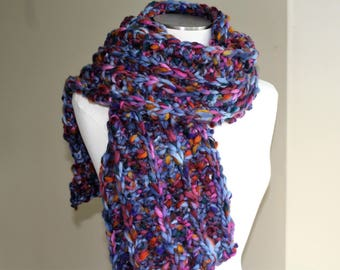 Blue Wool Knit Scarf, Chunky Knit Ribbed Scarf, Long Multi Color Knit Scarf, Wool Knit Scarf Men Women, Luxury Knits, Chunky Knit Wool Scarf