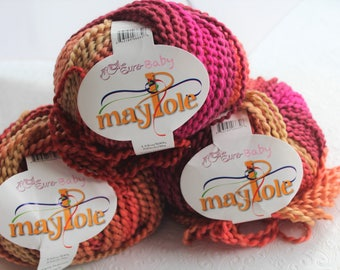 3 Skeins Euro Baby Maypole Bulky Yarn Color 10, Bulky Knitting Yarn, Orange, Pink, Salmon Bulky Yarn, Destash Yarn, Soft Bulky Yarn, stripe