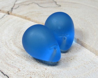 Czech Glass Beads 20 x 14mm Brilliant Puffed Matte Royal Blue Crystal Smooth Pear Drops - 6 Pcs.
