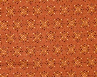 ON SALE Tiny Multi-Colored Stars on Burnt Orange 100% Cotton Quilt Fabric, Kim Diehl's Welcome Wagon Collection for Henry Glass Fabrics, HEG