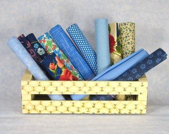 Blue (or mostly blue) Fat Quarter Bundle, 12 Fat Quarters, 100% Cotton Quilt Fabric Bundle, Cotton Fabric Blenders, Various Manufacturers