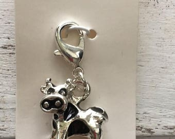 SALE Cow Charm with Lobster Claw Clasp