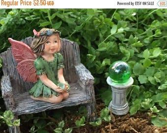 SALE Miniature Green Gazing Ball, Fairy Garden Accessory, Miniature Garden Decor, Topper