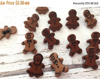 """SALE Gingerbread Buttons, Packaged Novelty Button Assortment by Buttons Galore, """"Little Gingerbread"""" Style 4783, Shank Back Buttons, Holiday"""