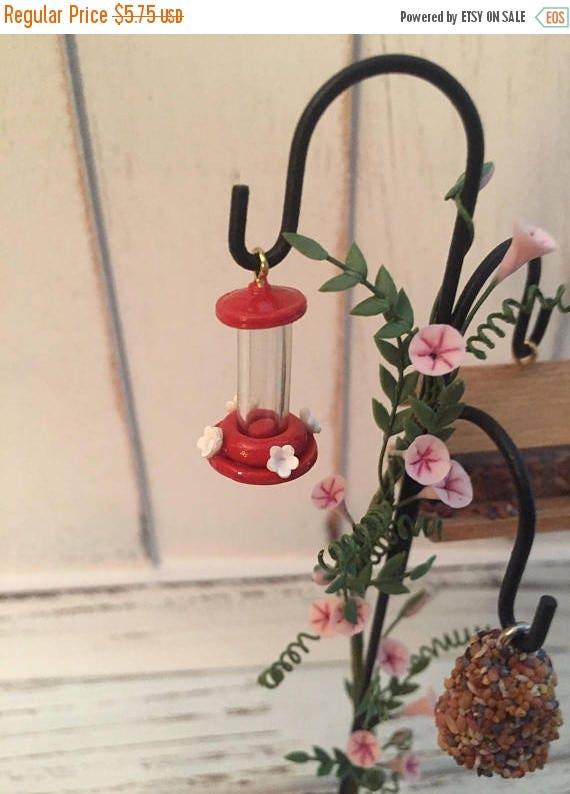 ON SALE Miniature Hummingbird Feeder, Red Mini Feeder, Dollhouse Miniature, 1:12 Scale, Dollhouse, Miniature Yard & Garden Decor, Accessory