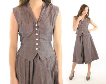 1950s Full Skirt Blouse Set Button Up Vest Top Sleeveless Shirt Vintage 1950s Small S Pinup Rockabilly Purple Gray Helen Whiting
