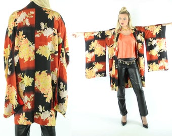 1940s Silk Japanese Kimono Long Jacket Robe Floral Vintage 40s Medium M Blazer Orange Red Black Gold