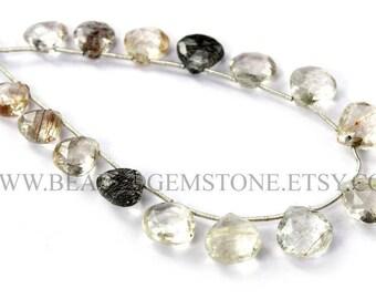 Semiprecious Stone, Multi Rutilated Quartz Faceted Heart (Quality AA+) / 9.50 to 11.50 mm / 18 cm / RUT-022