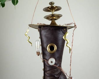 Nikola Tesla Inspired Steampunk Boot Birdhouse