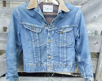 Distressed Vintage Lee Storm Rider Denim Jacket - Blanket Lined Denim w/Corduroy Collar - sz S-M