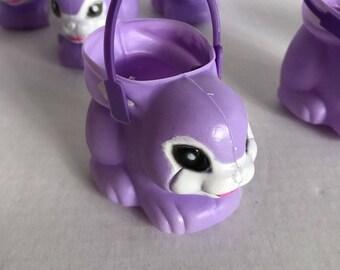 Vintage Lot of 8 Purple Plastic Mini Miniature Easter Bunny Rabbit Buckets Pails