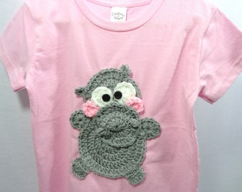 Pink Hippo Shirt, Little Girl Clothes, Gray Hippopotamus Shirt, Size 2T, 3T or 4T available, MADE TO ORDER, Gift for Granddaughter