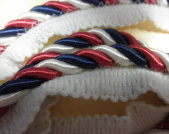 """Estate Notions --4  yds of  Red White and Cream Twist 3/8"""" SATINY   Lip Cord - has Sheen  - Unused."""