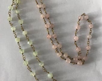 Rose quartz and jade necklace