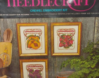 Vintage NOS 1970s Avon Creative Needlecraft Crewel Embroidery Kit Fruits