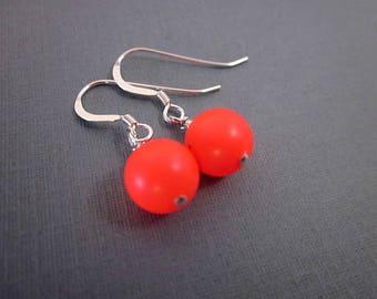 Red Ball Earrings -- Red Swarovski Pearl Earrings -- Long or Short Dangles -- Neon Fashion Earrings -- Neon Red Earrings -- Red Neon Drops