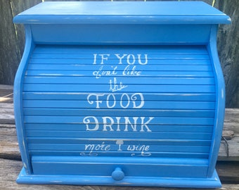 Bread box extra large sky blue with white lettering distressed handmade and painted