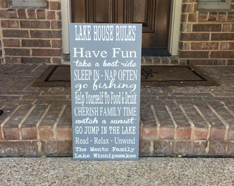 Lake House Rules Custom Wood Sign ~ Lake House Decor ~ Lake Sign ~ Lakehouse Rules Sign ~ Lake House Wall Art ~ Vacation Home Sign