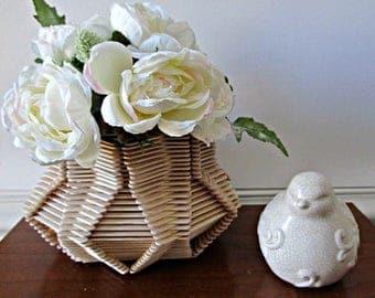 ON SALE Popsicle Stick Vase - Star Shaped, Natural Wood, Home Decor