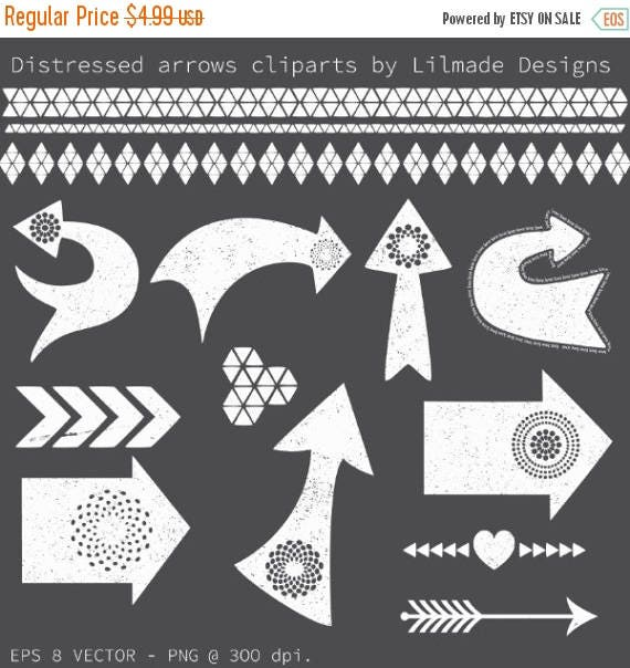 65%OFF SALE Arrow clipart, distressed arrow clipart, chalkboard clipart, tribal clipart, tribal border clipart, distressed vector clipart P4
