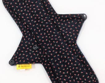 """12"""" Cloth Pad,Cotton Cloth Panty Liner,Moderate Flow Cloth Pad,Exposed Core Pad,Long Cloth Panty Liner,Cotton Top Pad W/ Fleece Backing"""