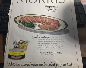 Morris supreme canned meats ad circa 1921. Cooked ox tounge. 10 x 13 original large graphic ad .