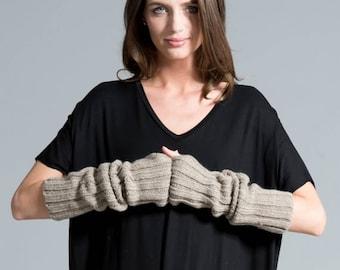 50% SALE Black Gloves / Knit Fingerless Gloves / Knit Arm Warmers / Women's Gloves / Grey Fingerless Gloves / marcellamoda k - MA419
