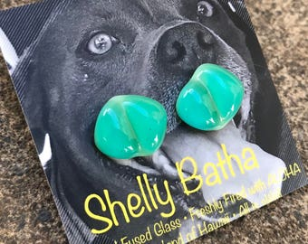 Aqua Sterling Silver Earrings Shelly Batha Island Fused Glass Hawaii