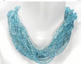 ON SALE Mystic Blue Quartz Rondelles Aqua Blue Rondels Roundels Earth Mined Quartz Gemstone- 6.5-Inch Strand - 3 to 3.5mm Beads
