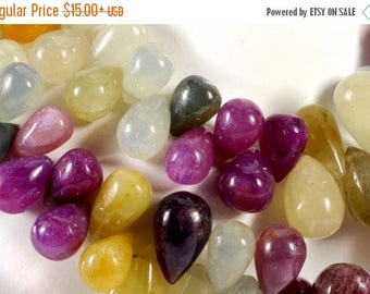 ON SALE Umba Sapphire Multi Color Beads Smooth Teardrops Earth Mined Precious Stone - Your Choice of Number of Beads - 8x5 to 9x6mm