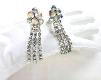 Vintage Weiss Aurora Borealis Rhinestone Earrings / Long Dangle /Old Hollywood 1950's Jewelry