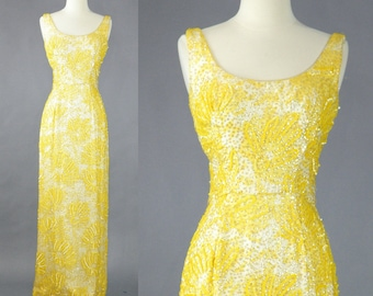 1960s Iridescent Yellow Sequin Evening Dress, 60s Gown, 1960s Wiggle Dress, Best & Co
