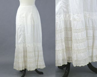 Antique Edwardian Petticoat, 1910s White Cotton and Lace Skirt Slip, Downton Abbey