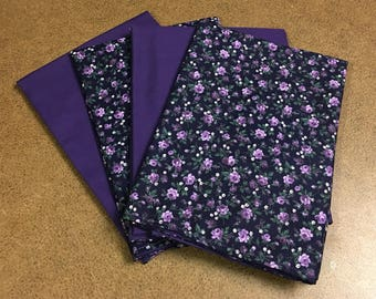 Purple Flowers Reusable Cloth Napkins Set of 4 Double Sided 100% Cotton Eco Friendly 15 x 15