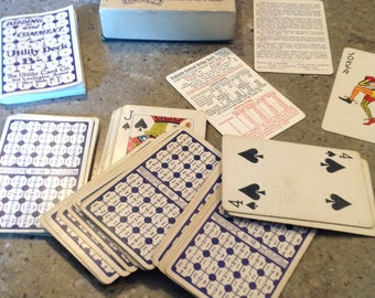 Antique Contract Bridge Game Playing Cards Box and Brochures Book