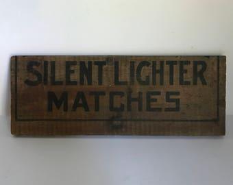 Antique Silent Lighter Matches Wooden Crate Part