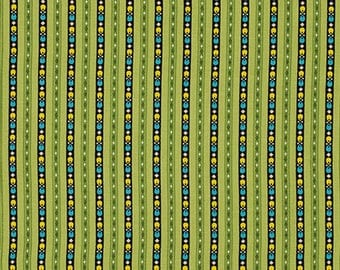Denyse Schmidt Fabric, Ansonia Kentucky Stripes, Mossy, Green Yellow and Blue, PWDS061.MOSSY