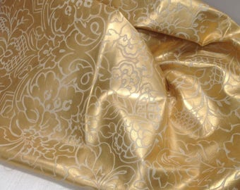 6-830.  Razzle Dazzle Gold and Cream Embossed Floral Leather Cowhide Partials