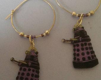 dr who dalek beaded hoop earrings