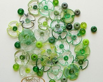 Green and Clear Lampwork Flowers Glass Beads, FREE SHIPPING, Set of Handmade Glass flowers and Spacers Beads - Rachelcartgalss