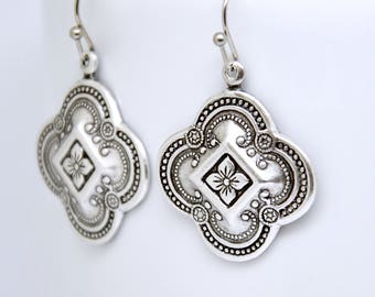 Quatrefoil Earrings, Clover Earrings, Antique Silver Floral Jewelry, French Earrings, Renaissance Revival, Art Deco Jewelry, Medieval