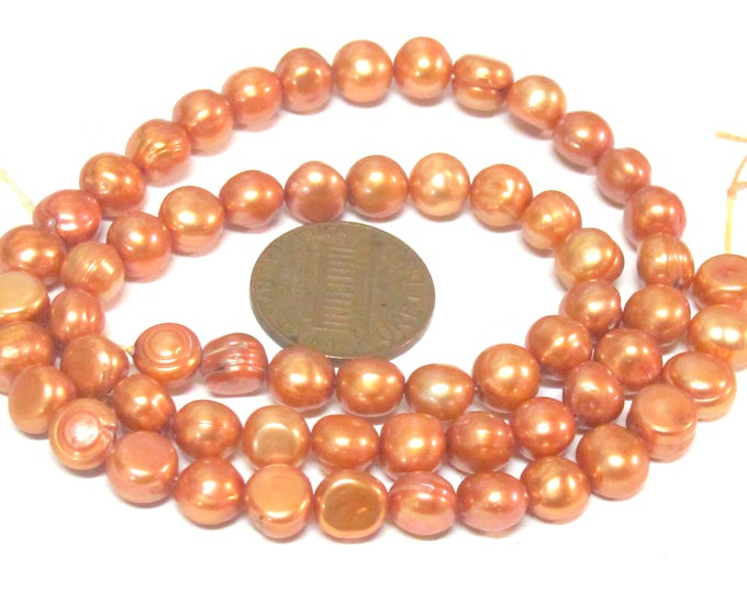 1 Full Strand  - Rustic peachy brown color freshwater cultured pearl s 15 inches    - PL007B