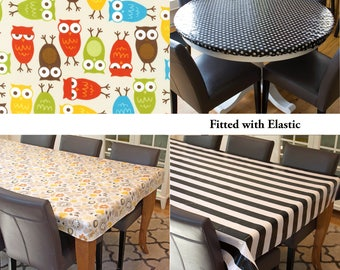 Oilcloth tablecloth Laminated cotton tablecloth custom size and fit choose elastic, tailored, or draped, Urban Zoologie bright owls