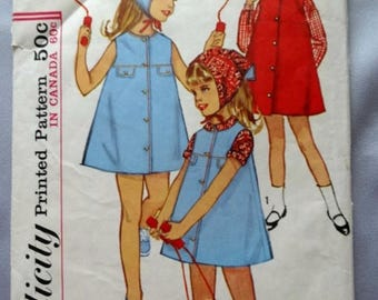 ON SALE Simplicity 5550, Vintage, Girls' Dress or Jumper, Blouse and Scarf Sewing Pattern, from 1964, Child Size 5