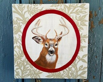 Stag Deer Portrait original acrylic painting on re-purposed wood