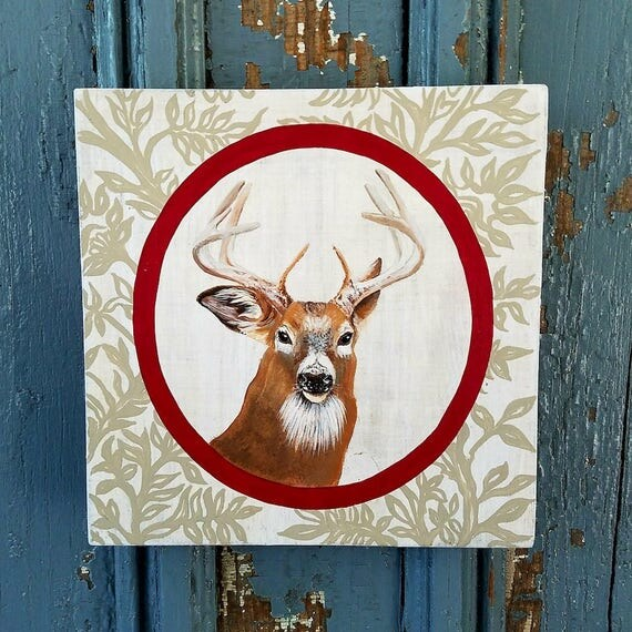 Stag Deer Portrait original acrylic painting on re-purposed wood