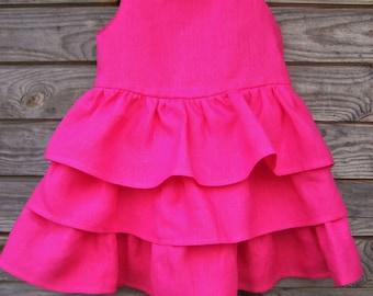 Ruffle Dress, Summer dress, Girl clothing, Flower girl dress, Girls linen dress, Party dress, Birthday dress, Ruffles, Dress, Toddler dress