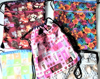 Fabric Covered,Nylon Lined,Drawstring Backpack,Your Choice:Flowers,Movie Cats,Seashells,Ice Cream Cupcakes,Dr. Seuss Horton Back To School
