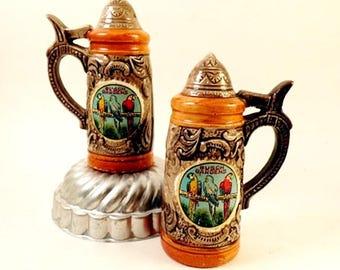 Vintage Salt and Pepper Shakers Beer Stein Busch Gardens Souvenir China Retro Ceramic Figural