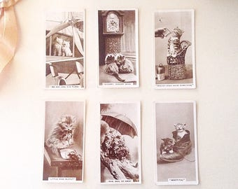 Six (6) Vintage Black and White Photo Cat Kitten Collector Cards - De Reszke Cigarette Cards - Portrait - Mixed Media Collage Crafts